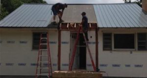 New door being installed on a new construction project by Rob Sherlock Roofing in Wurtsboro, NY